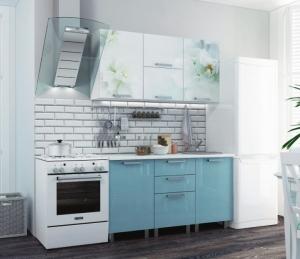 Кухня Бьянка Блестки голубые 1,5м
